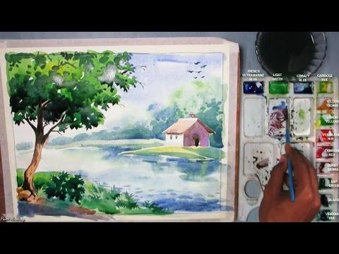 How To Paint Clouds Sky And Swaying Grass In Watercolor Simple