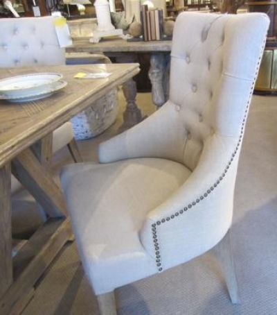 Linen Armchair With Tufted Back Clayton Gray Home I Want At Chairtufted Dining