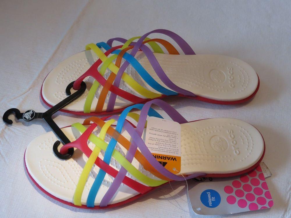 1635f5ecedfd Womens crocs Huarache flip flop RARE sandal rainbow W 9 strappy sexy  geranium W9  Crocs  FlipFlops