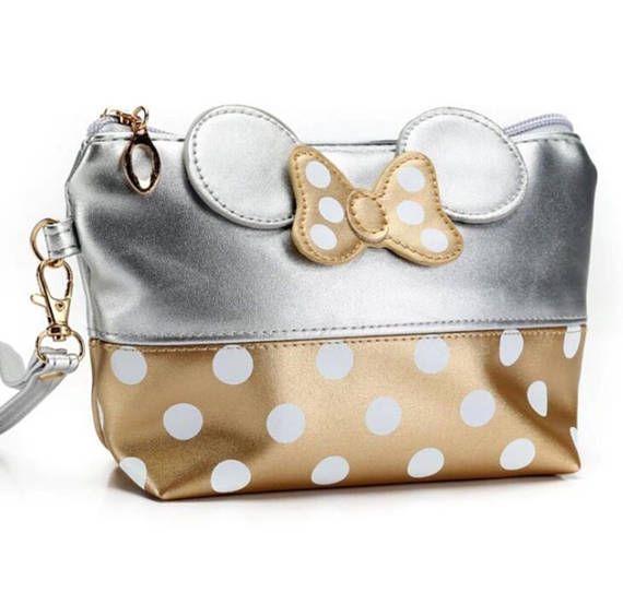124661504a Minnie Inspired Cosmetic Bag, Gold & Silver Polka Dot Makeup Bag ...