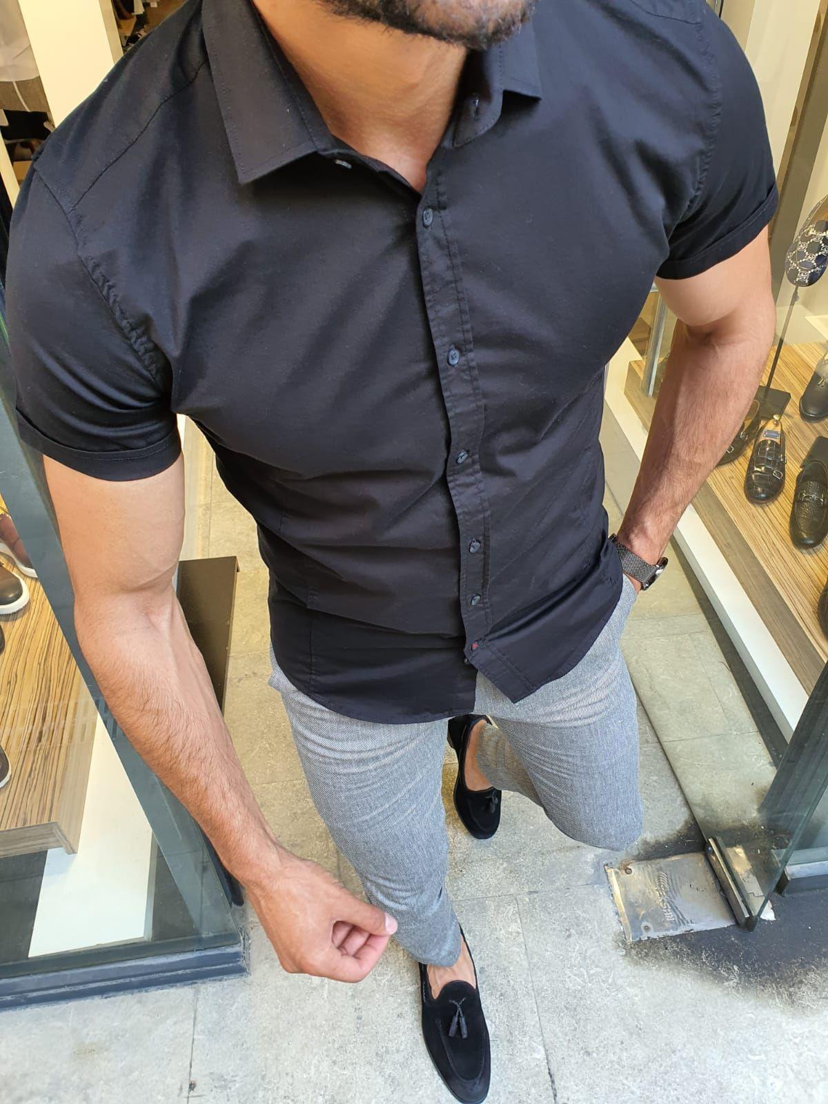 Gentwith Sparks Black Slim Fit Short Sleeve Shirt Gent With In 2021 Black Dress Shirt Men Mens Dressy Casual Outfit Mens Dressy Casual [ 1600 x 1200 Pixel ]