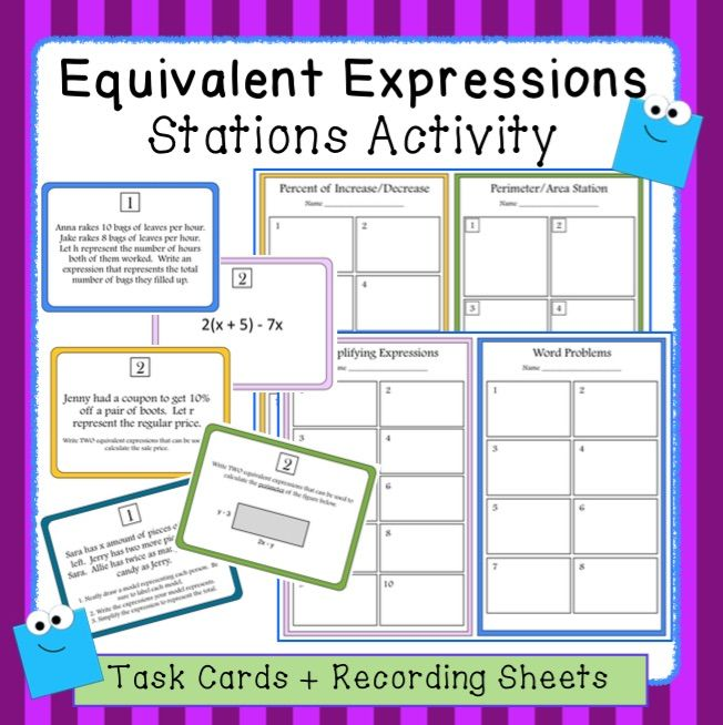 Equivalent Algebraic Expressions Stations Activity 7 Ee 1 And 7 Ee 2 Math Station Activities Guided Math Middle School Math Equivalent expressions worksheet 7th grade