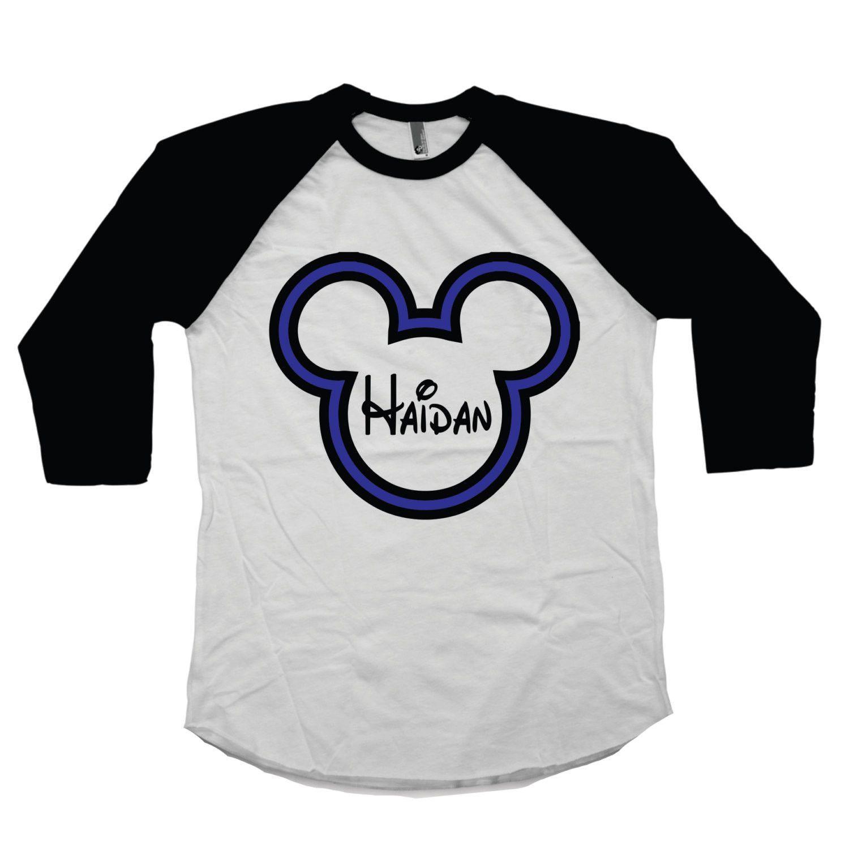 dd841599 Custom Mickey Mouse Personalized Shirt For Boys - Disney Raglan Tee with  Boy's Name Blue