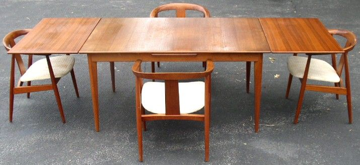 Sweden Denmark Modern Teak Table 4 Chairs Brass Lantern Antiques Danish Modern Dining Table Teak Dining Table Dining Table Chairs