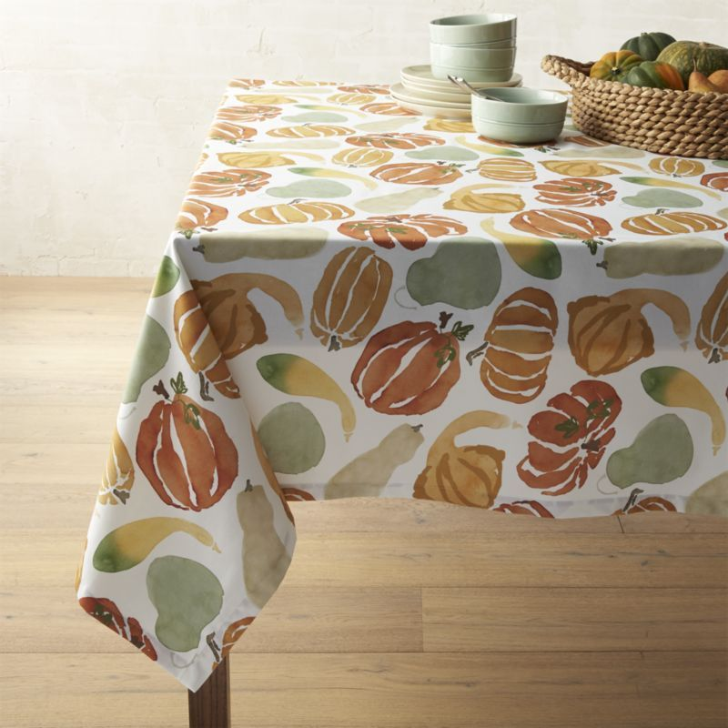 As If Straight From The Artistu0027s Studio, This Festive Fall Tablecloth  Depicts A Bounty Of Watercolor Pumpkins And Gourds, Digitally Printed On  Cotton.