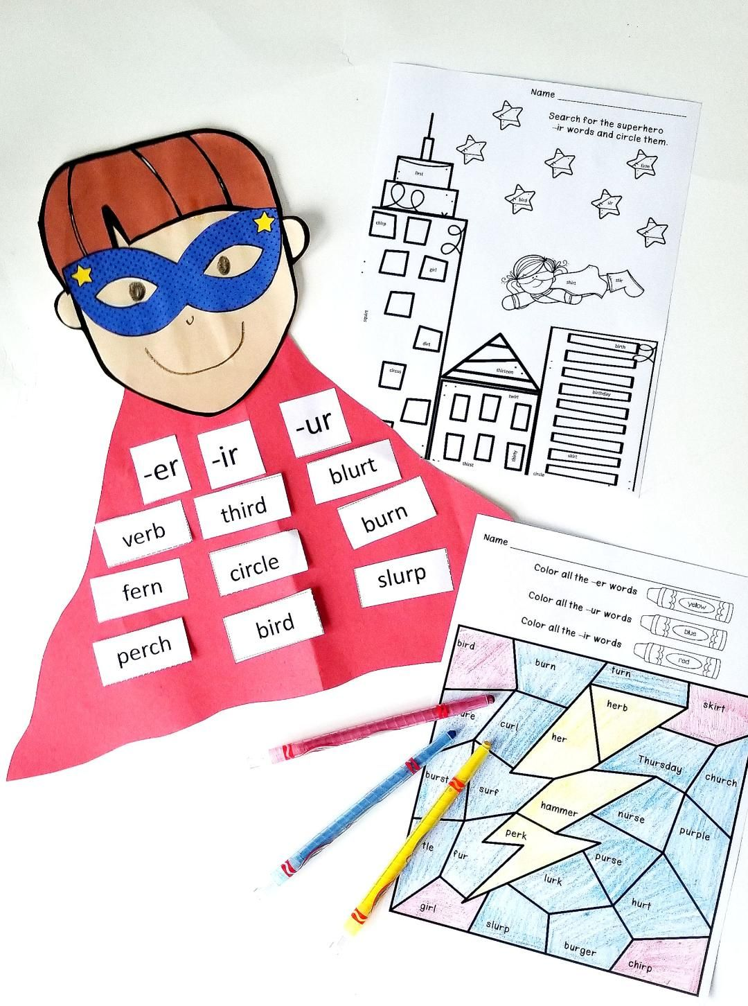 R Controlled Vowels Activities Superheros Theme Er Ir
