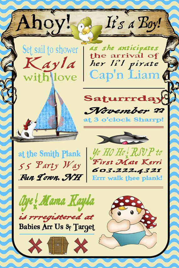 Pirate Baby Shower Invitation For Boys Invitation Pirate Shower