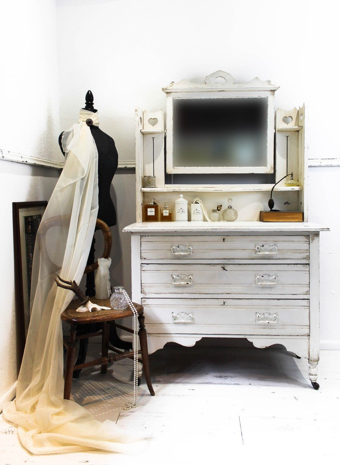 Shabby ANTIQUE EDWARDIAN DRESSING Table Vintage Chest of