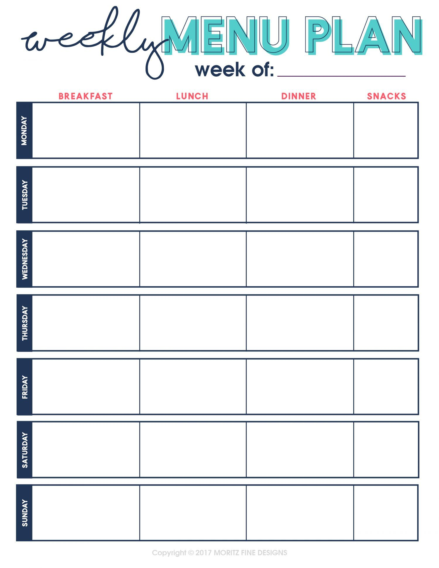 Recipe Collection Binder Printable Kit Weekly menu