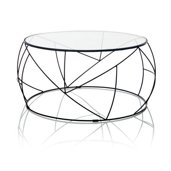 Tisch Rund Metall Glas.Couchtisch Rund Gehärtetes Glas Metall Vorderansicht