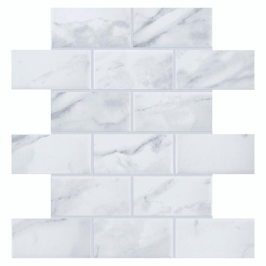 Carrara Marble Subway Tile Backsplash Find It At The Home Depot