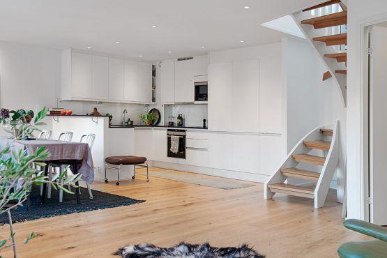 19 escaleras en pisos n rdicos scandinavian salons and - Modelos de escaleras de caracol para interiores ...