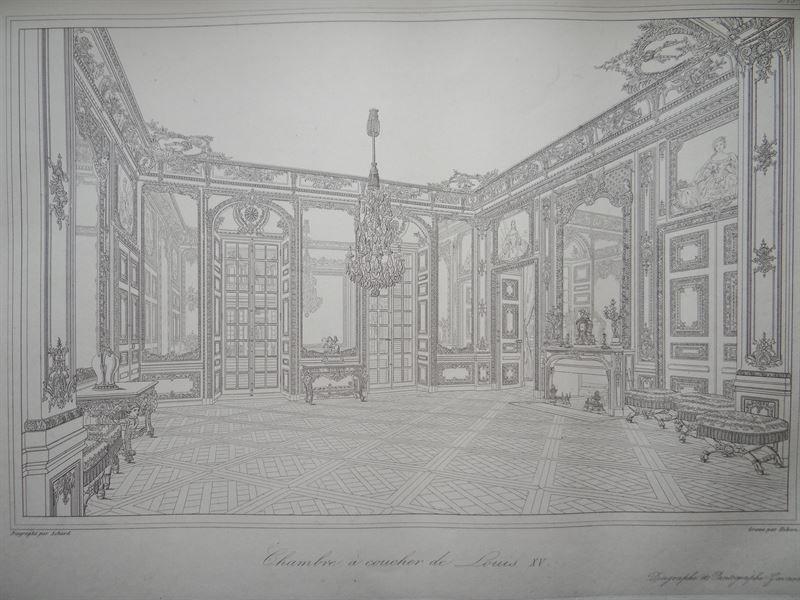 Chambre a coucher de Louis XV - staalgravure van Hibon