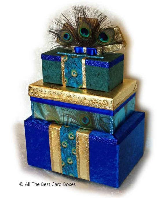 Quinceanera,quinceanera invitation,peacock invitation,peacock dress,peacock guest book,quinceanera gift,peacock card box,peacock feathers #sweet16centerpieces This Quinceanera card box is pretty as a peacock - literally! Decorate your gift table with this Peacock Card Box and impress your friends with this unique centerpiece. Your gift cards will be safely stored inside during the party. The center box lid lifts off later when you are ready to remove the cards. I designed this card box around th #sweet16cakes