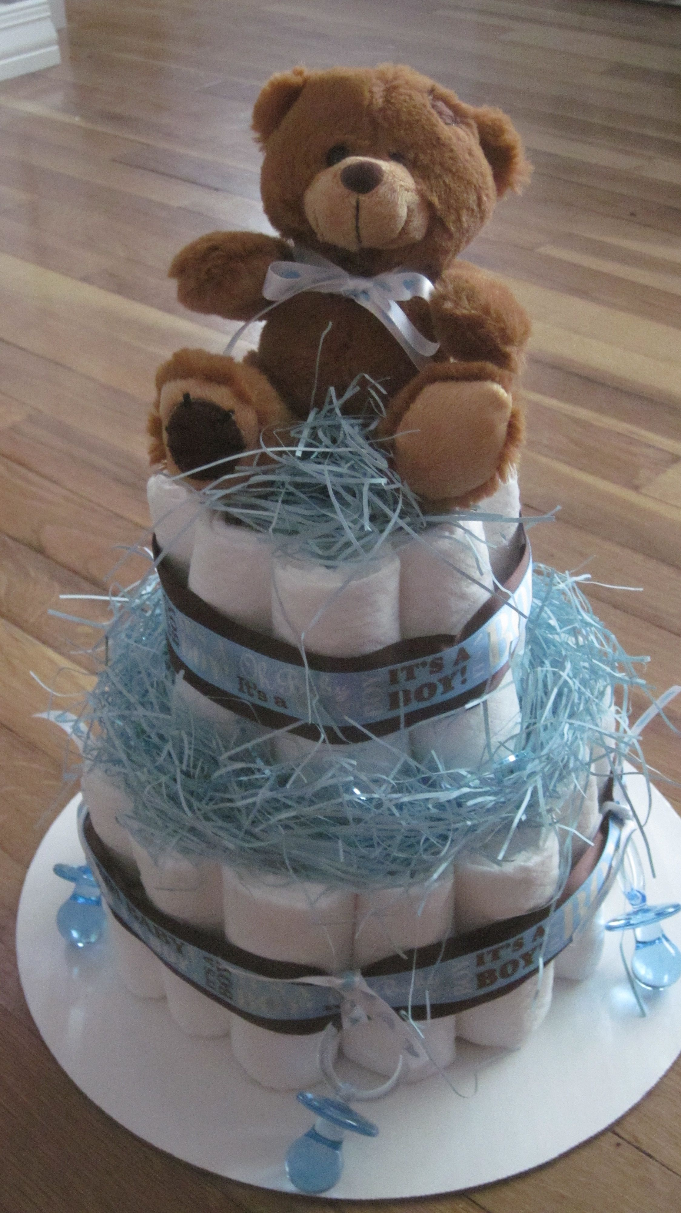 Diaper Pyramid For Baby Shower Part - 19: Teddy Bear Diaper Cake -made By My Mother As A Centerpiece For My Baby  Shower