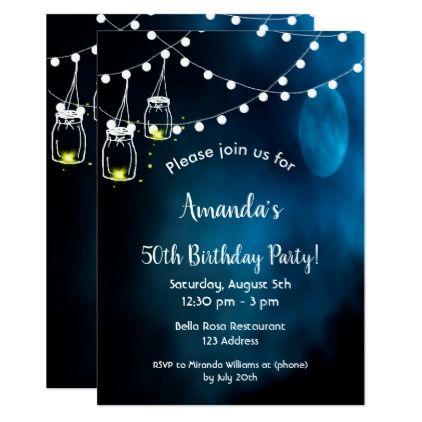 50th Birthday Party Invitation Romantic Blue Moon