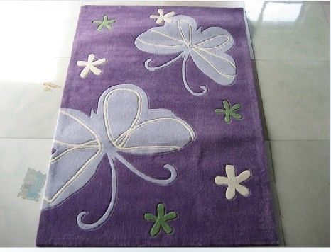 Cute Purple Area Rugs ,Cartoon Butterfly Kids Bedroom Rug(China (Mainland))