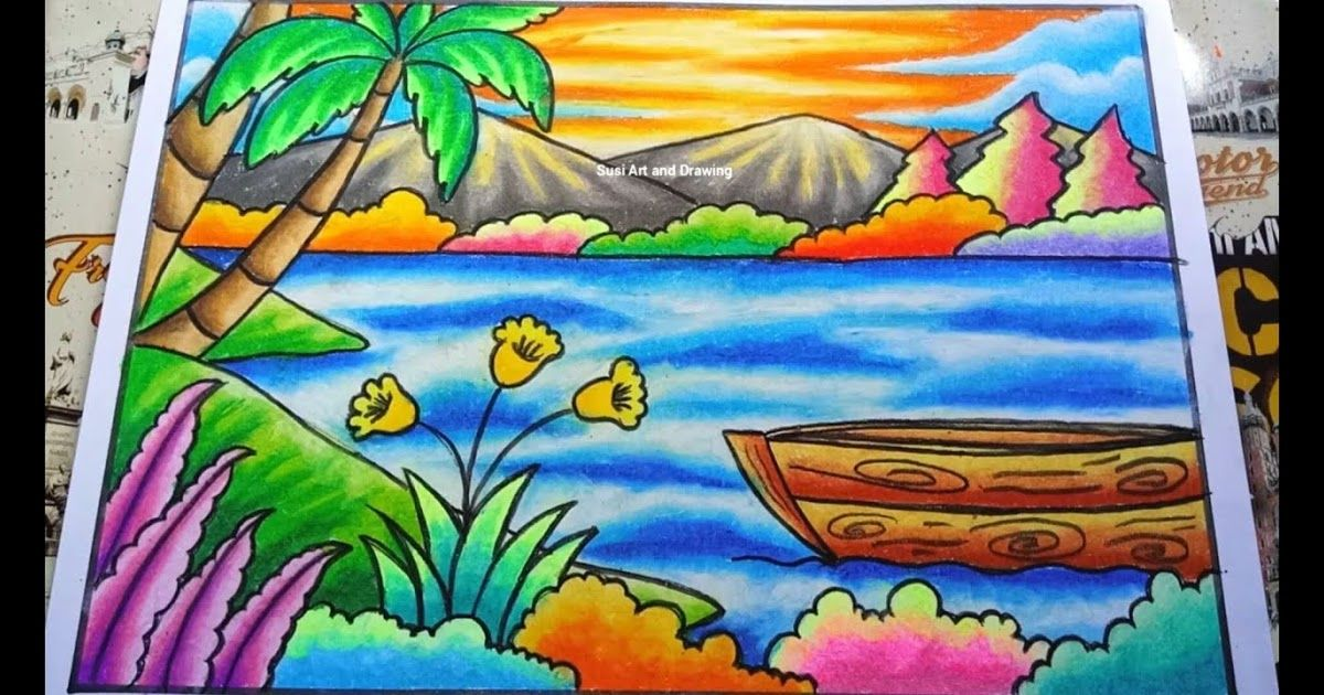Image of Beach Scenery Drawing And Coloring Download Collection of Images