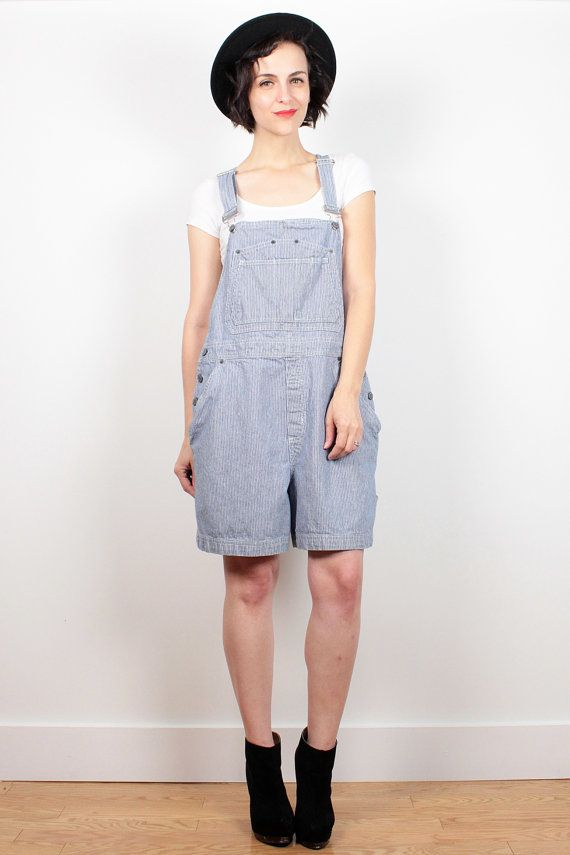 b259e46a6f5e Vintage 90s Overalls Shorts Blue White Striped Denim Overall Shorts 1990s  Shortalls Soft Grunge Romper Dungarees Playsuit L XL Extra Large by ...