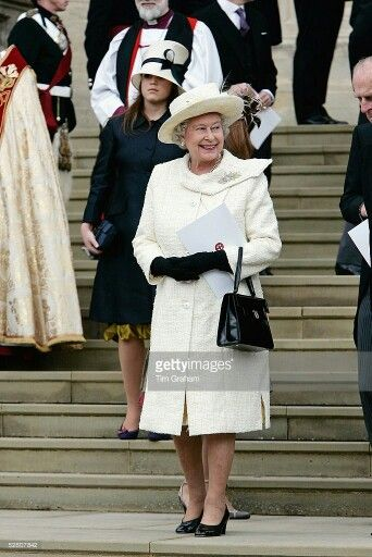 Queen Elizabeth At The Service Of Prayer And Dedication For Charles & Camilla's Marriage. April 9, 2005.