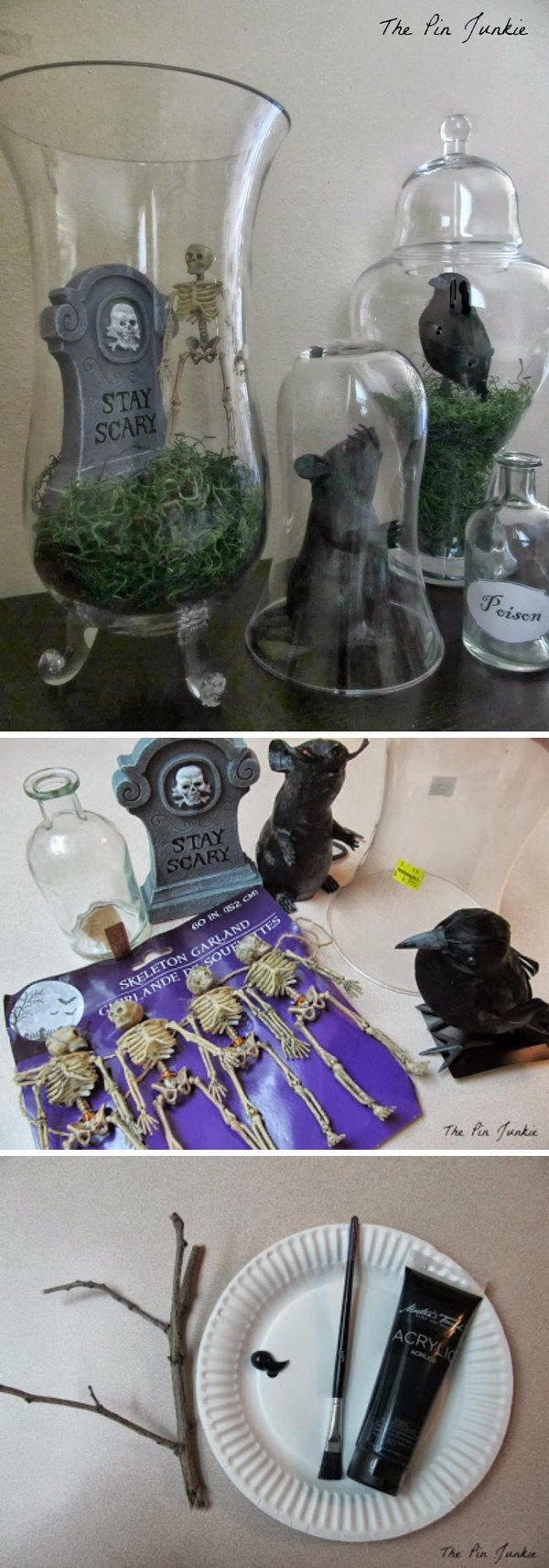 DIY Bell Jar Halloween Tablescape (Halloween Witch Apothecary Jars - Spooky Halloween Decorations