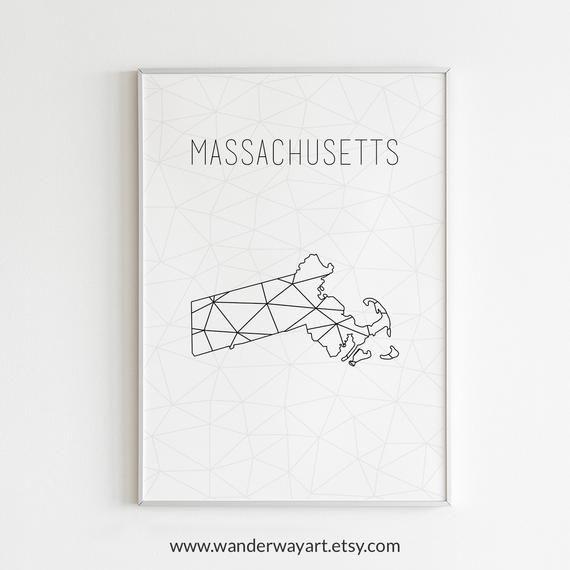 photo regarding Printable Map of Massachusetts named Machusetts map, Machusetts wall artwork, Machusetts artwork
