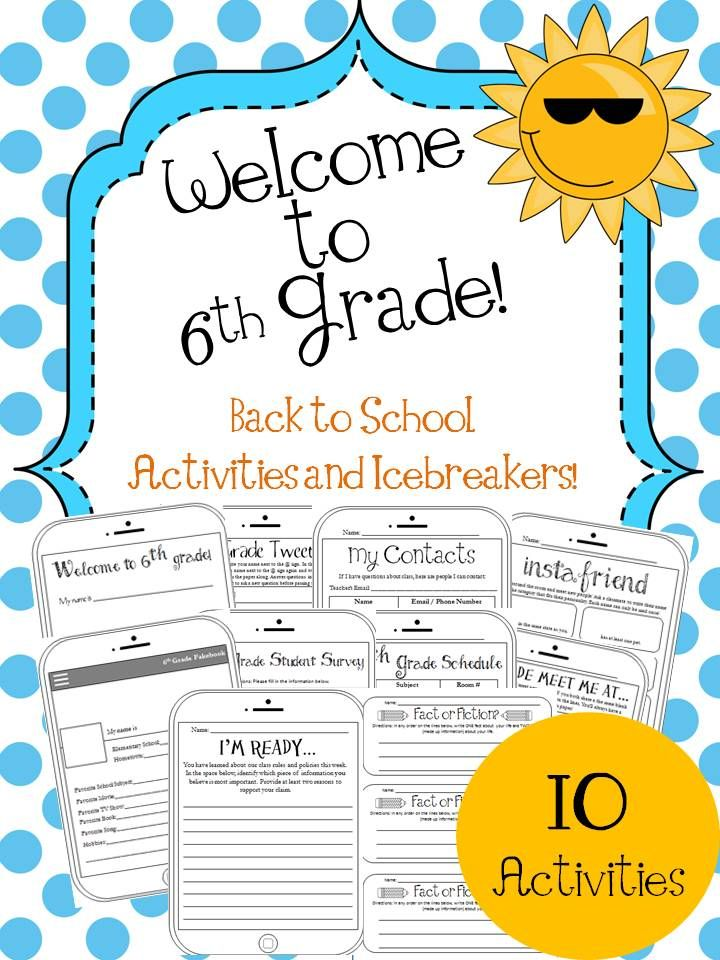 6th Grade Back To School Activities And Icebreakers School
