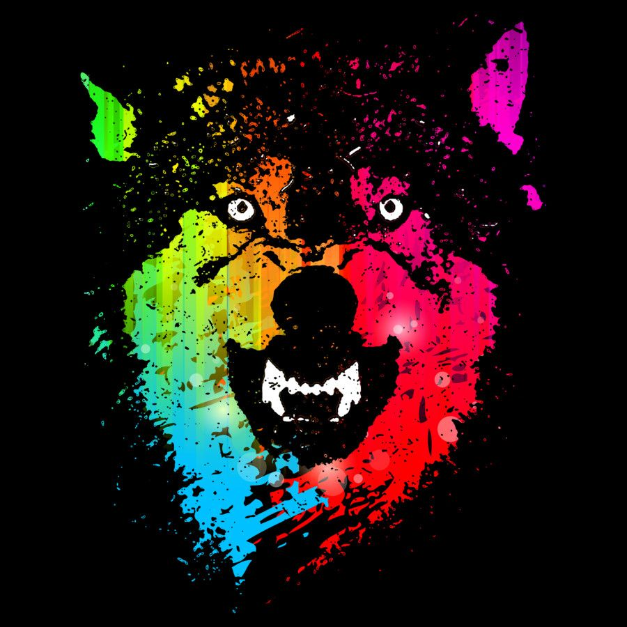 Design t shirt neon colors - The Neon Wolves T Shirt Design By Moncheng Source Fancy Tshirts Com