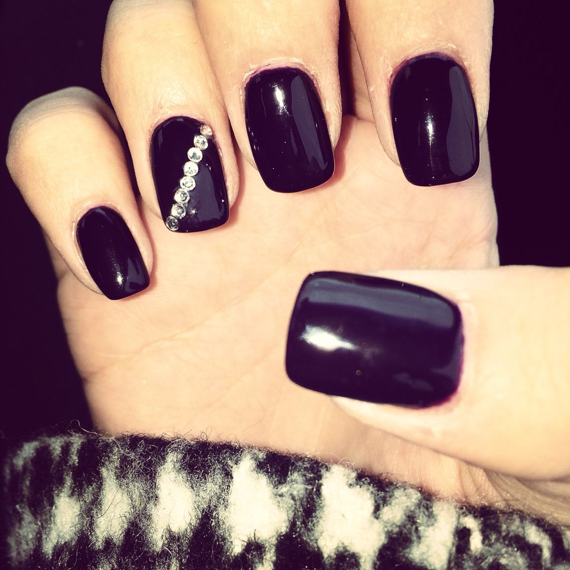 Dark purple nails with rhinestone accent | Nail Designs | Pinterest ...