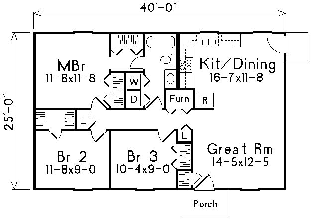Floor Plan 25 X 40 Ranch Style House Plans Bedroom House Plans Bathroom Floor Plans