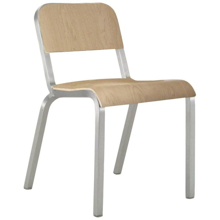 Emeco 1951 Stacking Chair In Brushed Aluminum And Maple By ...