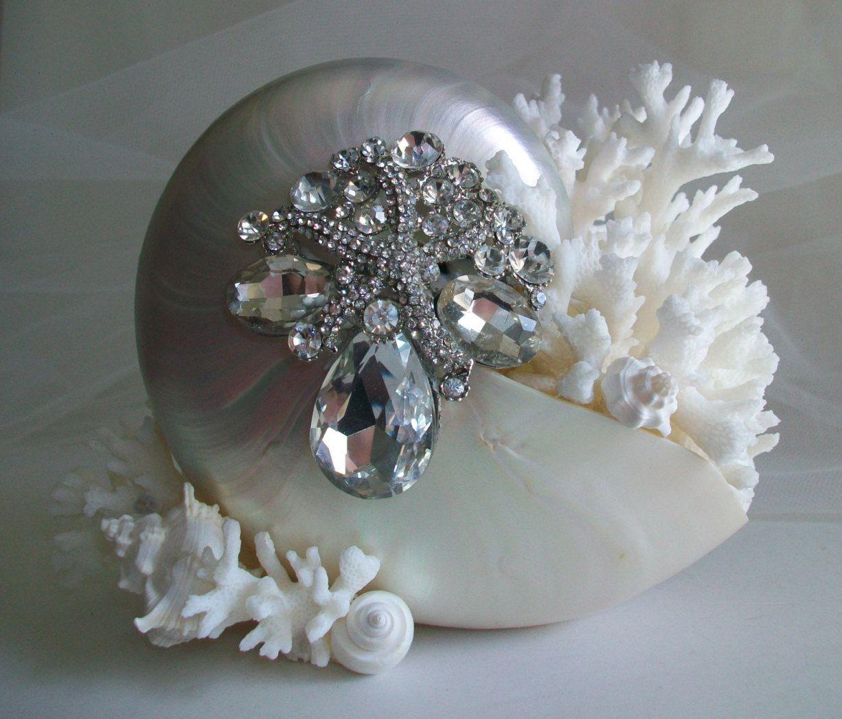 Beach Theme Nautilus Shell Wedding Cake Topper Jeweled Starfish Pearl Coral Seashell