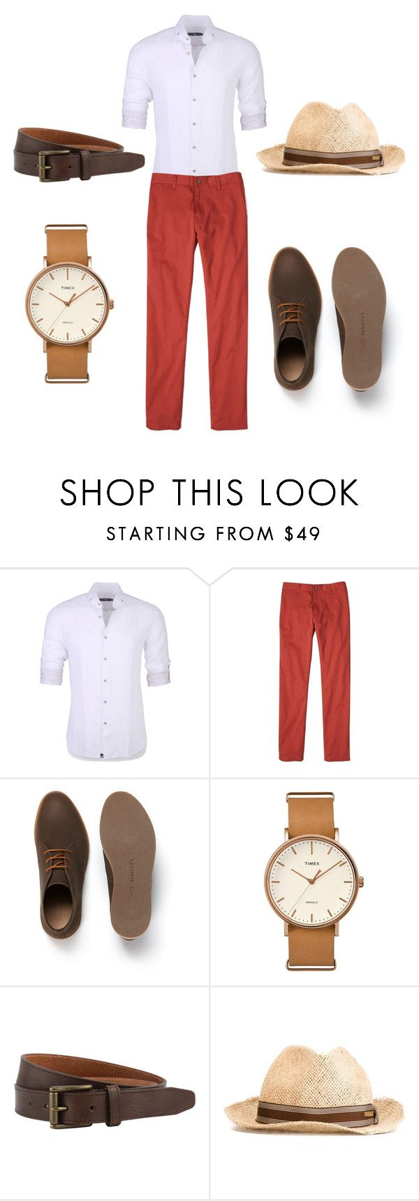 """""""Summer Dapper-ish"""" by diamond-winstead ❤ liked on Polyvore featuring Stone Rose, prAna, Lacoste, Timex, The British Belt Company, men's fashion and menswear"""