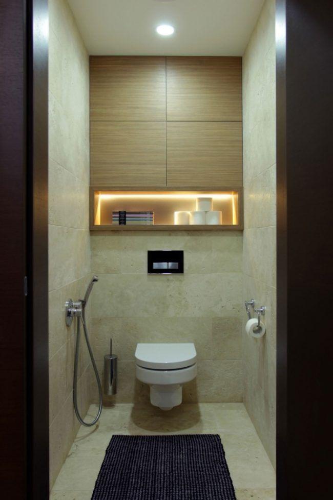 Kleines Badezimmer Handbrause Fliesen Naturstein Optik Led