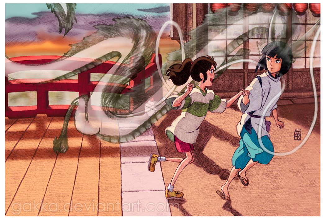 Have You Ever Noticed That Haku Is Almost Always Leading Chihiro He S Dragging Her By The Wrist Pull Studio Ghibli Art Studio Ghibli Characters Ghibli Movies