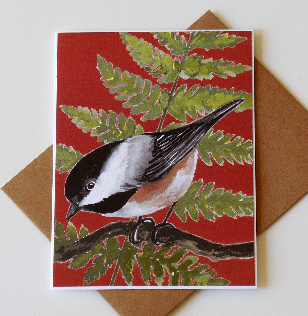 Bird Note Card Set 5 Handmade Size A6 Cards Greeting Cards