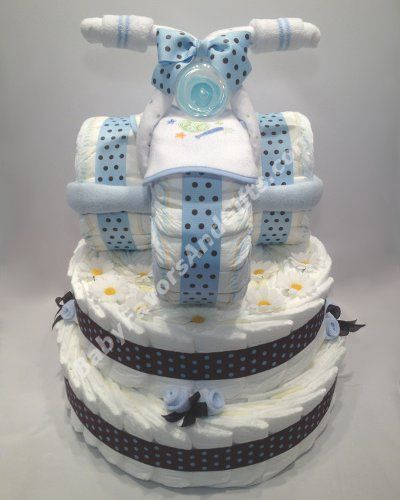Tricycle diaper cake, unique baby shower gift ideas for baby boy
