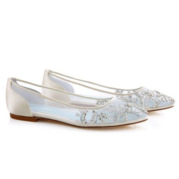 2df90167049 Beautiful Wedding Flats with Opal and Crystal Beading Bridal Shoes ...