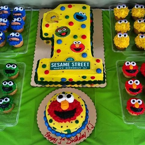 1 Cake Cupcake Elmo Birthday Party Boy Sesame Street Birthday Party Ideas Boy Baby Boy 1st Birthday Party