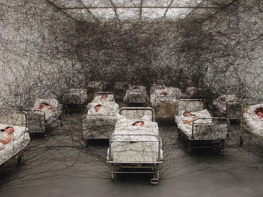 During Sleep 2002 Kunstmuseum Luzern Switzerland Performance Installation Hospital Beds Bedding B Installation Art Gallery Of Modern Art New Media Art