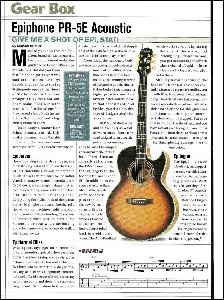 Epiphone Pr 5e Acoustic Guitar Review 2003 Full Page Article With