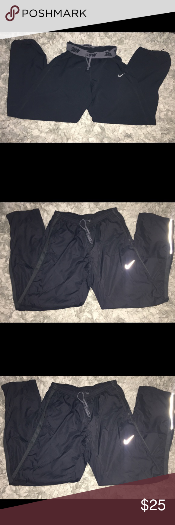 Black Nike Joggers Has reflective Nike check and also on the side of the legs. Nike Pants Track Pants & Joggers