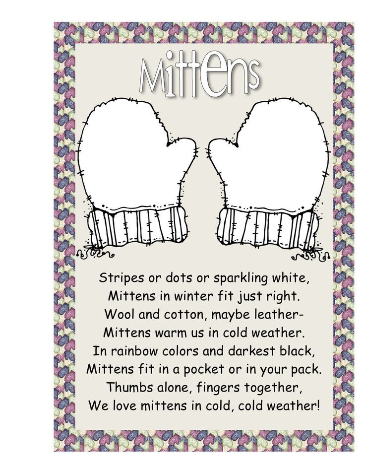 poems about mittens | Mrs. Bonzer's Poetry Folders ...
