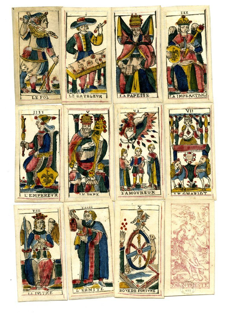 Complete Pack Of 78 Tarot Playing-cards. Hand-coloured