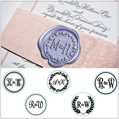 Custom wax stamp letters Engraved Initials Couple holdings