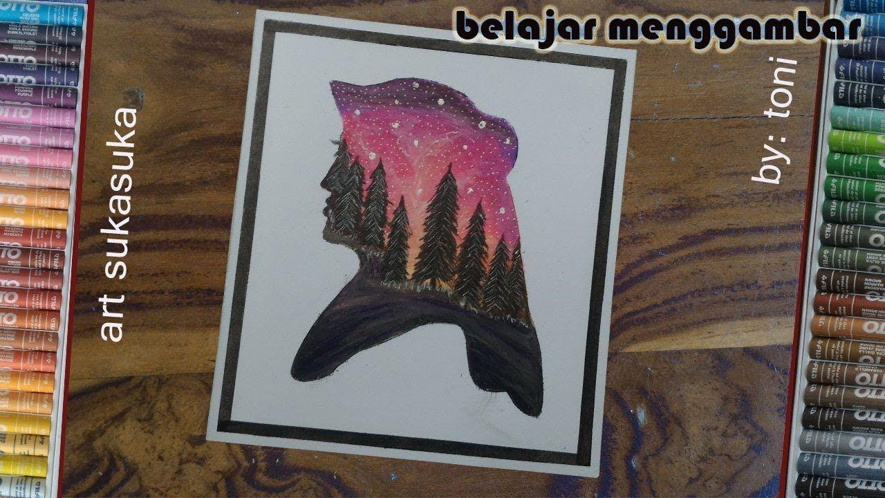 Cara Menggambar Pemandangan Malam Hari Gambar Menggunakan Crayon Atau Oi Pemandangan Cara Menggambar Gambar