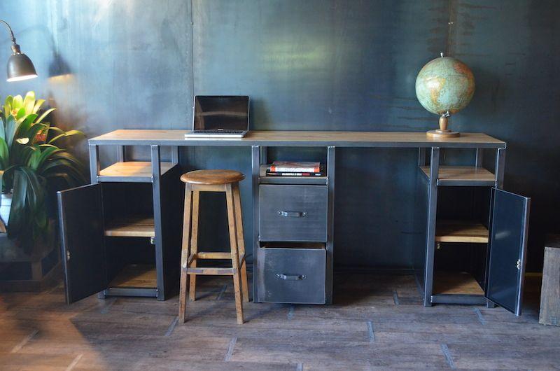 Bureau console bois métal industriel sur mesure micheli design