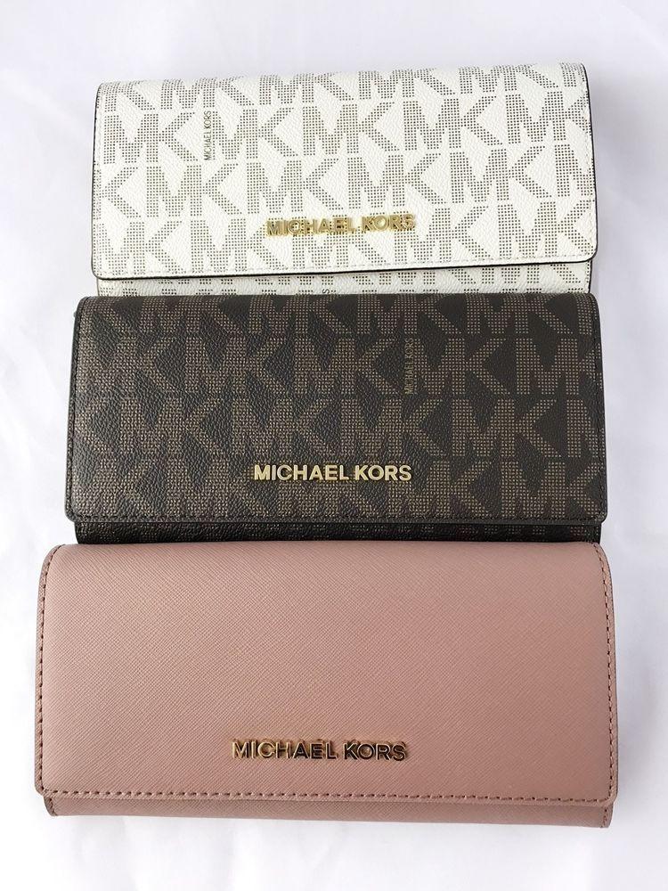 a3217f4529f2 Michael Kors Jet Set Travel Wallet Saffiano Leather Brown Vanilla Dusty Rose   MichaelKors
