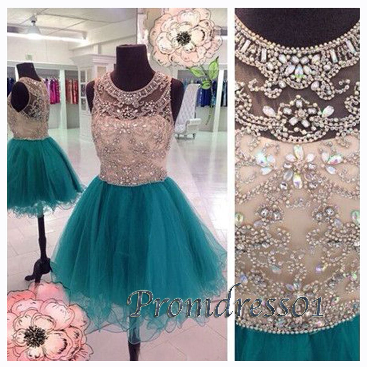 Prom dress round neck blue tulle vintage short prom dress for