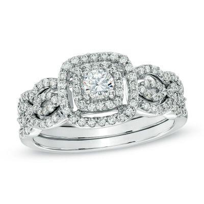 Artistry Diamonds Blue & White Diamonds 5/8 ct tw Bridal Set 14K White Gold eXbj8Qj2Yt